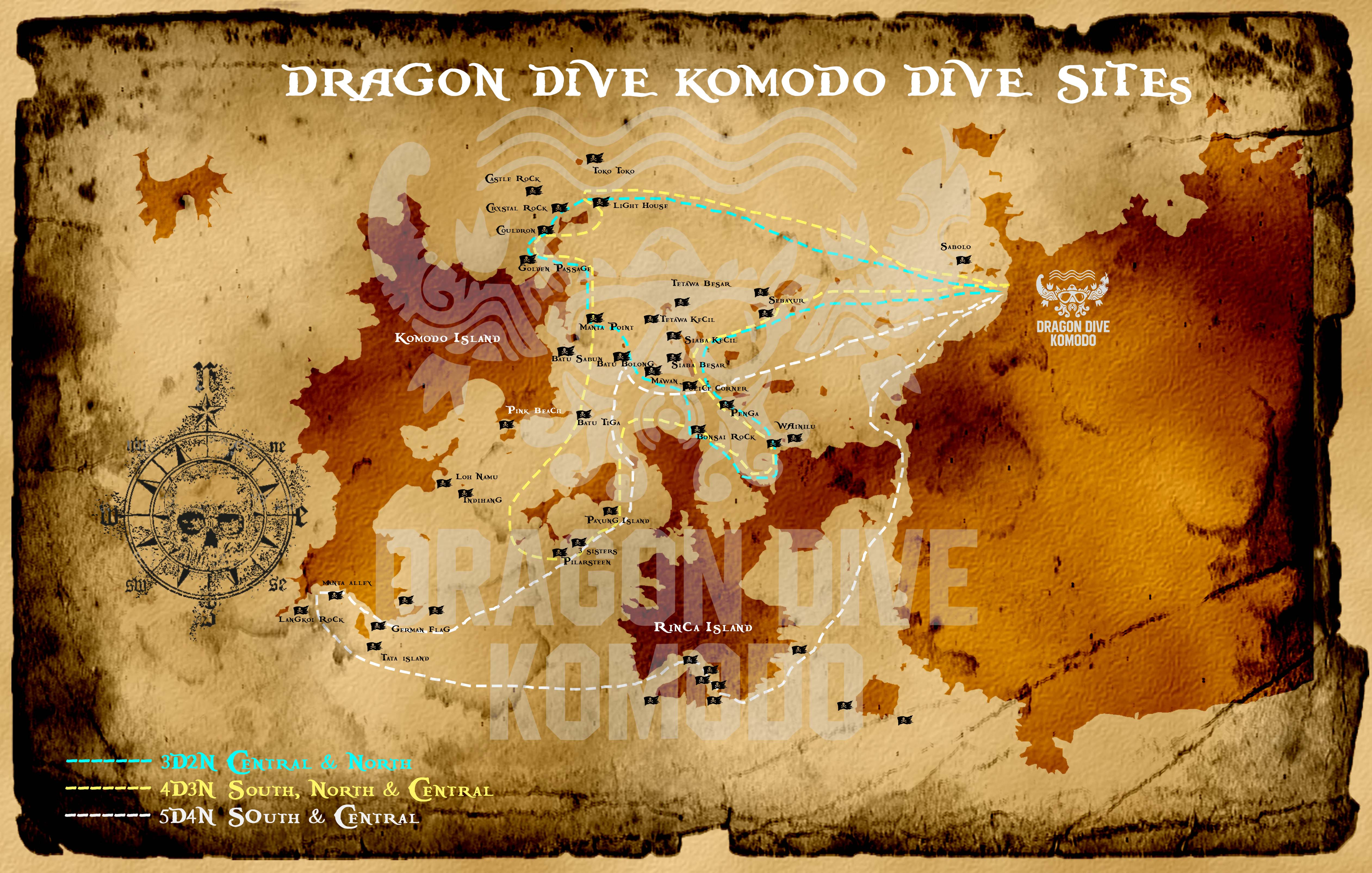 Dragon Dive Komodo Map DIve Sites and Boat Routes